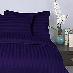 Elegant Comfort Wrinkle & Fade Resistant 1500 Thread Count - Damask Stripes Egyptian Quality Luxurious Silky Soft 3pc Duvet Cover Set, King/Cal-King, Purple