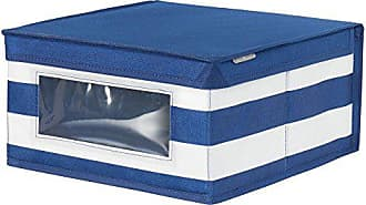 InterDesign ID jr Fabric Closet Storage Organizer Box with Clear Window for Clothing, Shoes, Nursery, Bedroom Closet, Laundry Room - Medium, Navy/White