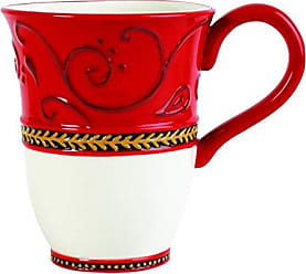 Fitz and Floyd Damask Holiday Collection Mug, Vintage Red & Gold