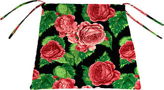 Jordan Manufacturing Company Classic Chair Cushion with Ties, 19 1/2 x 19 x 3, in Cabbage Rose