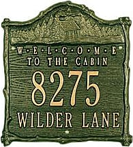 Whitehall Welcome To The Cabin Address Plaque In Cast Aluminum, in Green