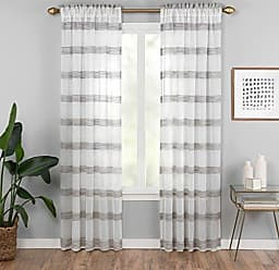 Ellery Homestyles Vue Kyoto Semi-Sheer Window Curtain Panel, 52 x 84, Black