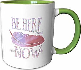 3D Rose 212481_7 Be Here Be Here Now - Purple and Mauve Watercolor Feather Ceramic Mug Green/White