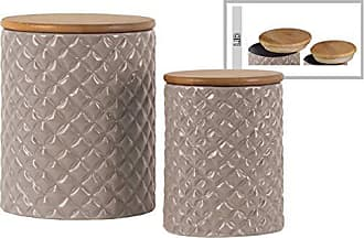 Benzara BM180697 Ceramic Canister with Lattice Diamond Design, Set of Two, Gray, One Size