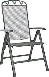 Greemotion Klappsessel Toulouse Eisengrau, Stuhl Aus Kunststoffummanteltem  Stahl, Gartenstuhl Mit 5 Fach Verstellbarer