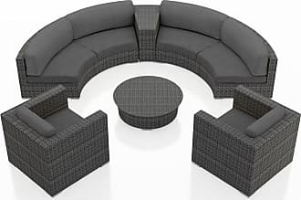Harmonia Living Outdoor Harmonia Living District 6 Piece Curved Sectional Patio Conversation Set Natural / White - HL-DIS-TS-6CSEC-CN