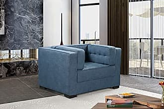 Iconic Home FCC9279-AN Lorenzo Accent Club Chair Linen-Textured Upholstered Tufted Shelter Arm Design Espresso Finished Wood Legs Modern Transitional Indigo