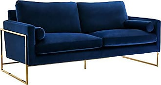 Meridian Furniture 678Navy-S Mila Collection Modern | Contemporary Navy Velvet Upholstered Sofa with Stainless Steel Base in a Rich Gold Finish