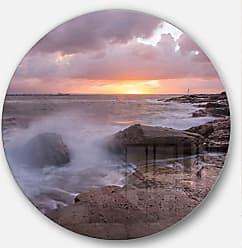 DESIGN ART Designart Stormy Waves in Beautiful Australia Beach Seashore Metal Artwork Disc of 38 inch, 38x38-Disc, Blue/White