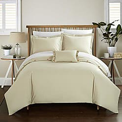 Chic Home 4 Piece Hartford 200 Thread Count Combed Finish 100% Cotton Twill Weave Button Closure Detail King Duvet Cover Set Beige Shams and Decorative Pillows Included