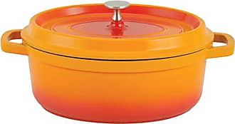 Paderno World Cuisine A1760031 Cast Aluminum Oval Dutch oven 6.63QTS Orange