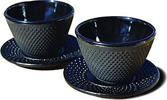 Old Dutch International 1080MB Black Tea Cups & Saucers. Set of 2 MATTE BLK CUP/SAUCER CAST IRON - 4 OZ