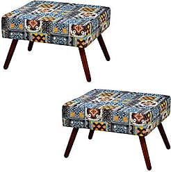 Nay Multicoisas Kit 2 Puffs Retangular Pés Palito Alto Tecido Azulejo - Nay Estofados