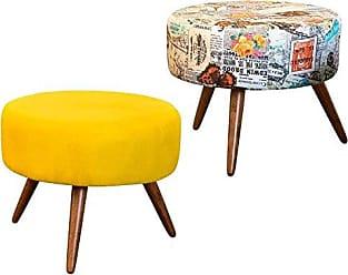 Nay Multicoisas Kit 02 Puffs Decorativo Angel Suede Amarelo-Jornal Colorido
