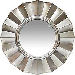 Infinity Instruments Brussels Resin Art Deco Frilled Silver Accent Wall Mirror 20.00 in