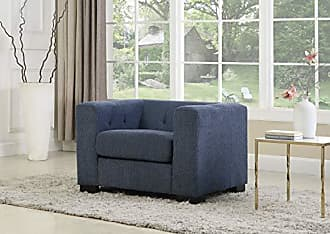 Iconic Home FCC9197-AN Limoges Accent Club Chair Plush Chenille Upholstery Button Tufted Espresso Wood Legs Modern Transitional Blue