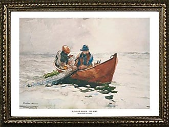 Buyartforless Framed The Dory Winslow Homer 24x36 Art Print Poster Famous Painting Ocean Landscape Small Boat Two Fishermen at Sea from Museum Fine Arts Boston Collection