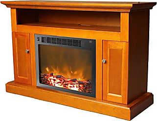 Cambridge Silversmiths Sorrento Fireplace Mantel with Electronic Fireplace Insert, Teak