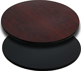 OFFEX 24 Round Table Top with Black and Mahogany Reversible Laminate Top