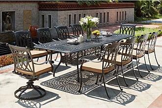 DARLEE Outdoor Darlee Capri 11 Piece Aluminum Rectangular Patio Dining Set with Extension - 201660-11-PC-60LE