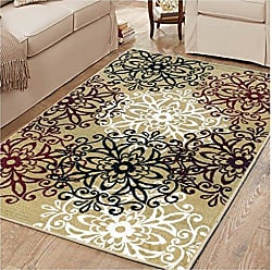 Home City Inc. Superior Elegant Leigh Collection Area Rug, 8mm Pile Height with Jute Backing, Chic Contemporary Floral Medallion Pattern, Anti-Static, Water-Repellent Rugs, 8 x 10 Rug, Gold