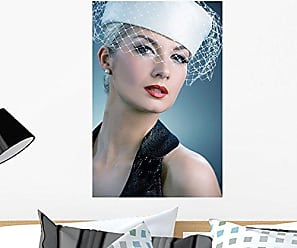 Wallmonkeys WM84127 Beautiful Young Woman in White Hat with Net Veil Retro Portrait Peel and Stick Wall Decals (24 in H x 16 in W), Medium