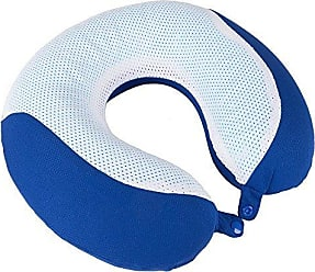 Trademark Global Memory Foam Travel Pillow- With Gel That Cools for Head/Neck Support with Pillowcase for Sleeping, Traveling, Airplanes, Trains by Lavish Home (Blue)