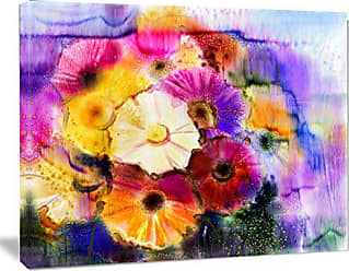 DESIGN ART Designart Bunch of Colored Daisy Flowers Wall Art Canvas 20x12 Purple