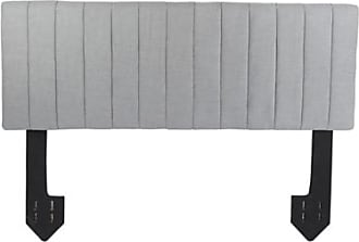 Ashley Furniture Carrie King Channel Tufted Powered Headboard, Light Gray
