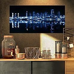 DESIGN ART PT9126-32-16 Glowing City at Midnight-Cityscape Photo Canvas Print-32x16, 32x16, Blue