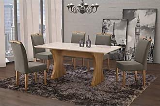 Siena Móveis Conjunto Sala de Jantar em Madeira Maciça Mesa Milão Curva e 6 Cadeiras Priscila Siena Móveis Imbuia Natural/Suede 70