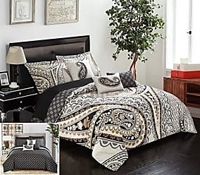 Chic Home Del Mar 10 Piece Comforter Complete Bed in a Bag Set GSM Microfiber Large Scale Paisley Print with Contemporary Geometric Pattern Bedding with Sheet Sets Decorative Pillow Shams, Queen Beige