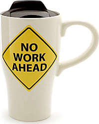 Enesco 6000540 Our Our Name Is Mud No Work Ahead Retired Stoneware Travel Coffee Mug, 14 oz, Yellow