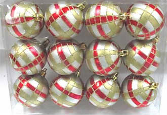 Queens of Christmas WL-ORN-12PK-PLD-RG Silver Ball Ornament with Red & Gold Plaid Design (Pack of 12)