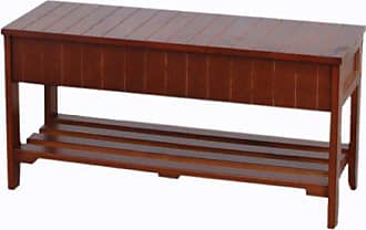 Round Hill Furniture Quality Solid Wood Shoe Bench with Storage, Cherry