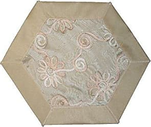 Violet Linen Emerald Embroidered Peach Ribbon Design Place Mat, 18 Round, Ivory