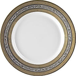 10 Strawberry Street Elegance 11.875 Charger/Buffet Plate, Set of 6, Platinum & Gold Banded