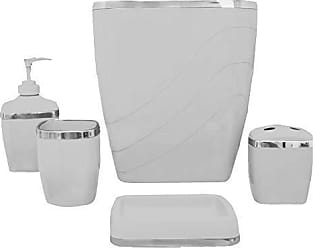 Ben&Jonah Ben & Jonah 5 Piece Plastic Bath Accessory Set in Grey Which Includes: Wastebasket, Lotion Pump, Tumbler, Toothbrush Holder and Soap Dish Splash Collection by Ben&Jonah