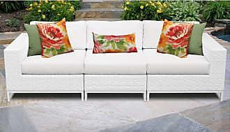 TK Classics Miami 3 Piece Outdoor Wicker Patio Furniture Set 03c (White)