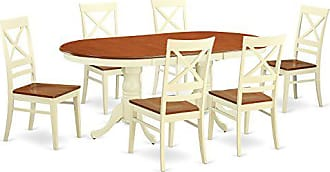 East West Furniture PLQU7-WHI-W 9 Piece Table with 8 Wooden Chairs Set