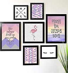 Los Quadros Kit de Quadros Decorativos 7 Peças Flamingo Abstrato Rosa Frases Los Quadros Preto