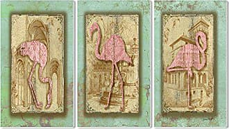 The Stupell Home Décor Collection Stupell Home Décor Vintage Pink Flamingo 3-Piece Triptych Wall Plaque Set, 11 x 0.5 x 17, Proudly Made in USA