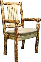 Montana Woodworks MWGCCASCNBUCK Glacier Country Collection Captains Chair with Upholstered Seat, Buckskin Pattern