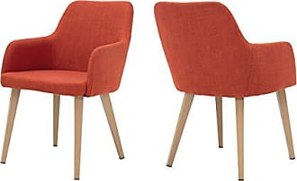 Christopher Knight Home 301272 Ahmanson Fabric Dining Chair with Wood Finish Metal Legs (Set of 2) (Muted Orange)