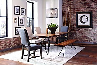 Scott Living Twain Upholstered Parson Chairs Smokey Black and Beige (Set of 2)