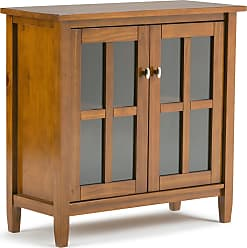 Simpli Home Warm Shaker Solid Wood Low Storage Cabinet in Honey Brown
