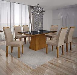 Leifer Conjunto Sala de Jantar Mesa Tampo MDF/Vidro Preto 6 Cadeiras Pampulha Leifer Imbuia Mel/Linho Bege