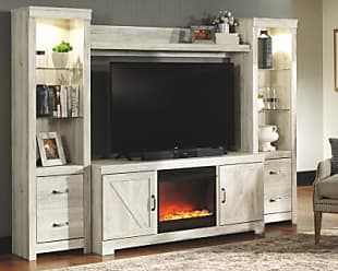 Ashley Furniture Bellaby 4-Piece Entertainment Center with Fireplace, Whitewash