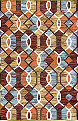 Rizzy Home Xpression Collection Polypropylene Gold/Ivory/Red/Brown/Orange/Light Blue Geometric Area Rug 52 x 73