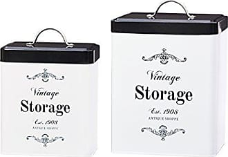 Amici Home Amici Home, A7CDI022AS2R, Antique Shoppe Vintage Storage Metal Canisters, Food Safe, Push Top Lid, Assorted Set of 2 (Large, 208 Ounces; Small, 96 Ounces)